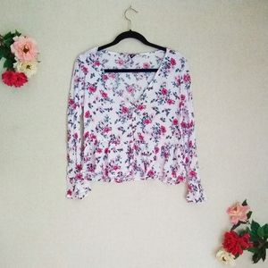 3/$30 H&M Divided Floral Button Front Top Size 10